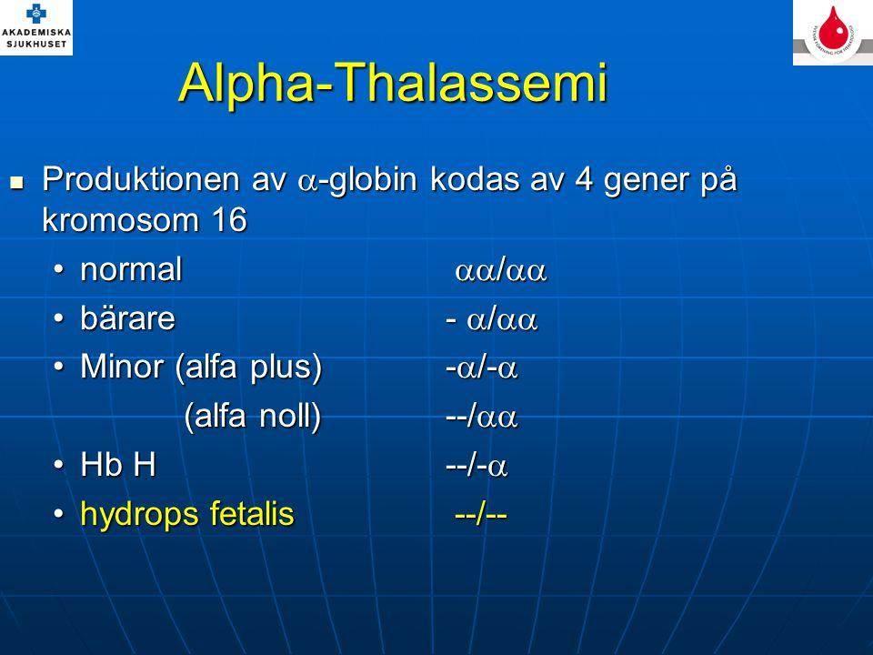 Alpha-Thalassemi Produktionen av  -globin kodas av 4 gener på kromosom 16 Produktionen av  -globin kodas av 4 gener på kromosom 16 normal  / normal  /  bärare-  / bärare-  /  Minor (alfa plus) -  /- Minor (alfa plus) -  /-  (alfa noll)--/  Hb H--/- Hb H--/-  hydrops fetalis --/--hydrops fetalis --/--