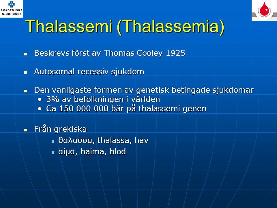 Thalassemi (Thalassemia) Beskrevs först av Thomas Cooley 1925 Beskrevs först av Thomas Cooley 1925 Autosomal recessiv sjukdom Autosomal recessiv sjukdom Den vanligaste formen av genetisk betingade sjukdomar Den vanligaste formen av genetisk betingade sjukdomar 3% av befolkningen i världen3% av befolkningen i världen Ca 150 000 000 bär på thalassemi genenCa 150 000 000 bär på thalassemi genen Från grekiska Från grekiska θαλασσα, thalassa, hav θαλασσα, thalassa, hav αίμα, haima, blod αίμα, haima, blod