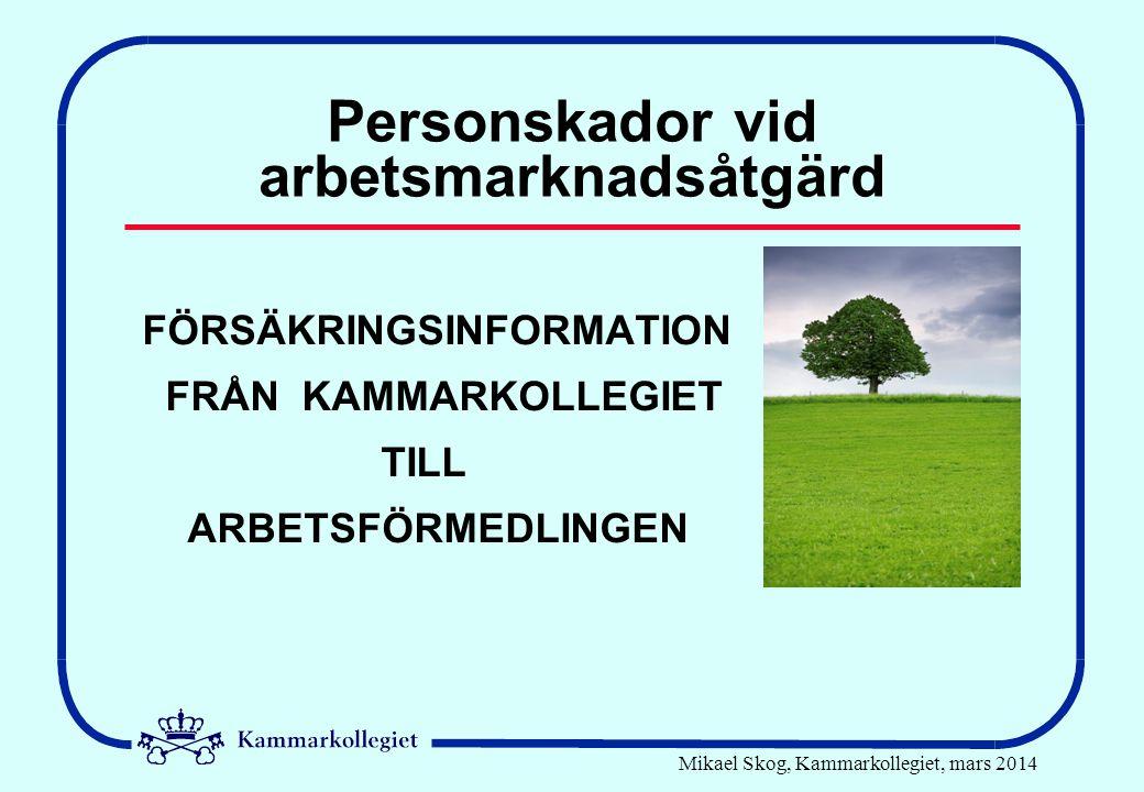 Mikael Skog, Kammarkollegiet, mars 2014 Personskador vid arbetsmarknadsåtgärd FÖRSÄKRINGSINFORMATION FRÅN KAMMARKOLLEGIET TILL ARBETSFÖRMEDLINGEN