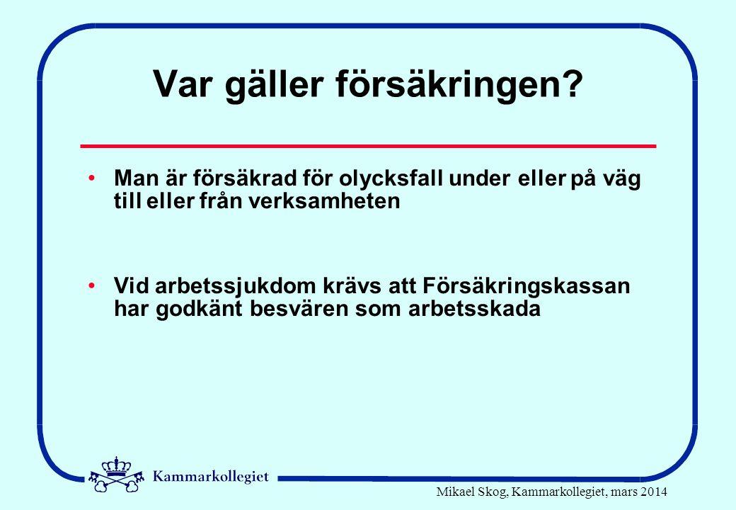 Mikael Skog, Kammarkollegiet, mars 2014 Var gäller försäkringen.