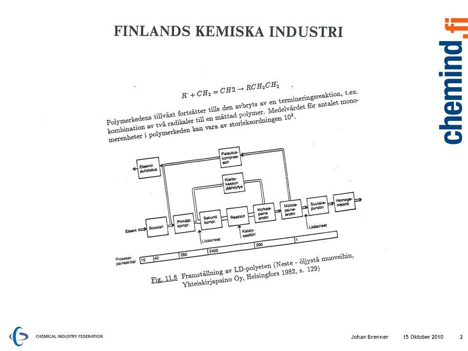 Finlands kemiska industri En av de tre största industrisektorerna i Finland Bruttoproduktionsvärdet är 17% av den nationella industrins brutto värde (2009) 75 % av produktionen exporteras antingen direkt eller som ingredient i andra exportproducter (2009) Sysselsätter 9 % av den totala arbetskraften i Finlands industri (ca.