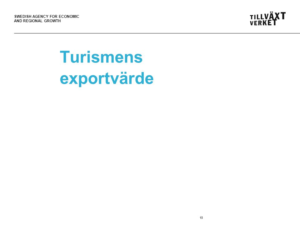 SWEDISH AGENCY FOR ECONOMIC AND REGIONAL GROWTH Turismens exportvärde 15