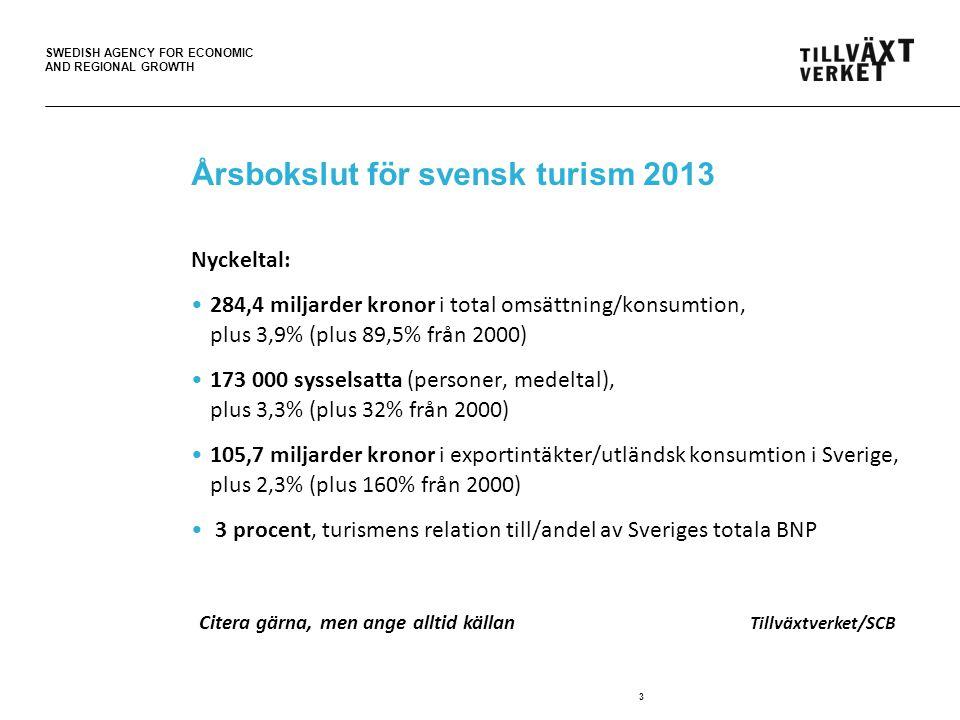 SWEDISH AGENCY FOR ECONOMIC AND REGIONAL GROWTH Turismens effekter på ekonomin 4