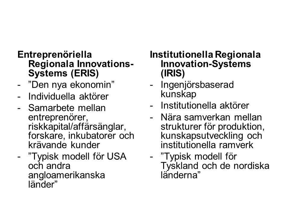 """Entreprenöriella Regionala Innovations- Systems (ERIS) -""""Den nya ekonomin"""" -Individuella aktörer -Samarbete mellan entreprenörer, riskkapital/affärsän"""