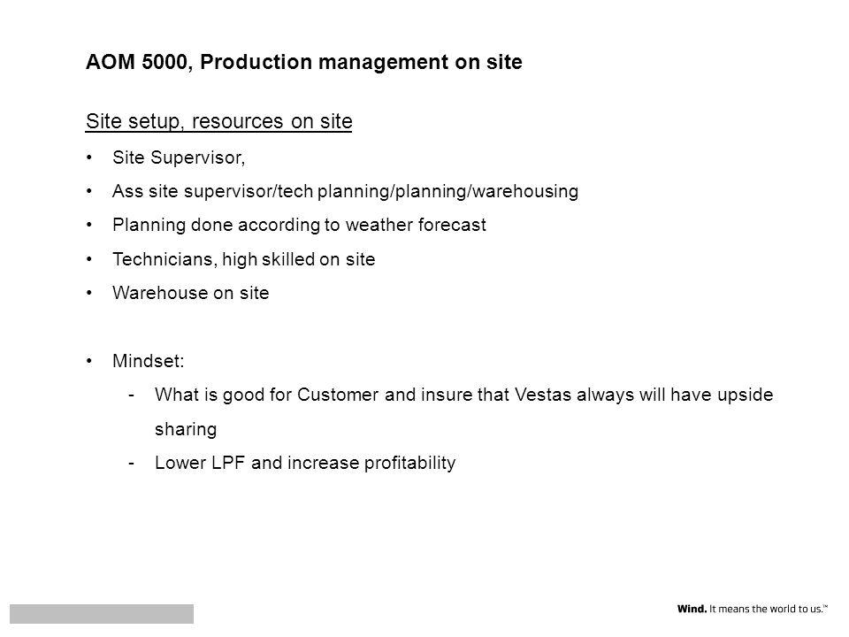 AOM 5000, Production management on site Site setup, resources on site Site Supervisor, Ass site supervisor/tech planning/planning/warehousing Planning