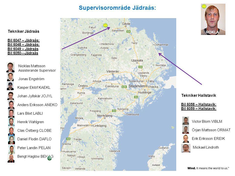 Supervisorområde Jädraås: Tekniker Jädraås Bil 6047 – Jädraås: Bil 6048 – Jädraås: Bil 6049 – Jädraås Bil 6050---Jädraås Nicklas Mattsson Assisterande