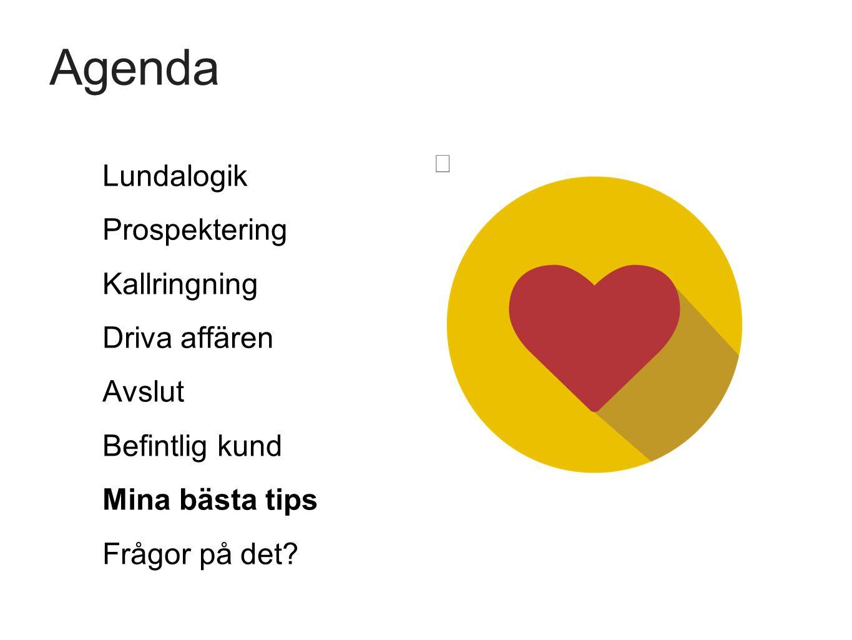 Agenda Lundalogik Prospektering Kallringning Driva affären Avslut Befintlig kund Mina bästa tips Frågor på det?