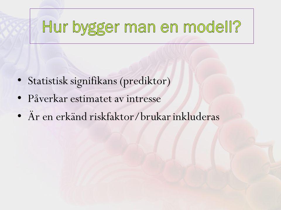 Statistisk signifikans (prediktor) Påverkar estimatet av intresse Är en erkänd riskfaktor/brukar inkluderas