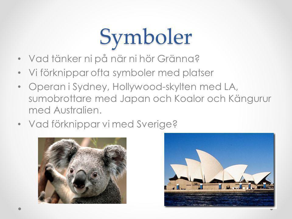 Symboler Vad tänker ni på när ni hör Gränna? Vi förknippar ofta symboler med platser Operan i Sydney, Hollywood-skylten med LA, sumobrottare med Japan
