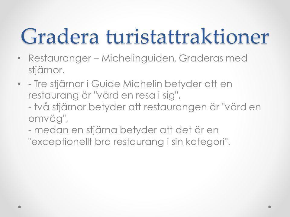 Gradera turistattraktioner Samma gradering kan användas på olika attraktioner inte bara restauranger.