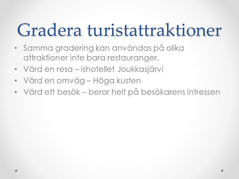 Gradera turistattraktioner Samma gradering kan användas på olika attraktioner inte bara restauranger. Värd en resa – ishotellet Joukkasjärvi Värd en o