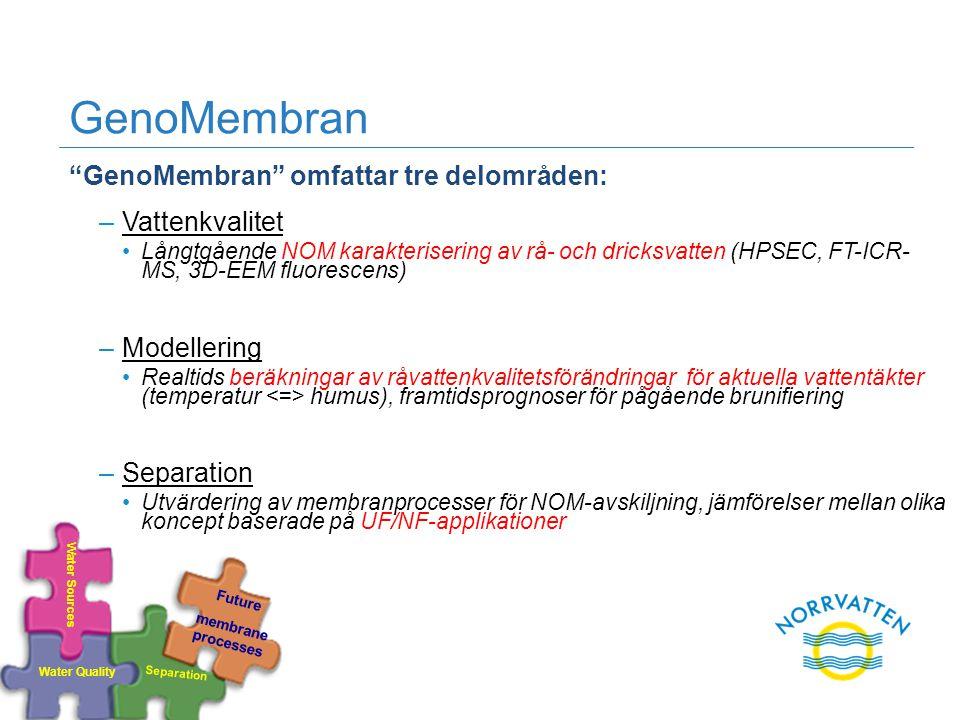 """GenoMembran """"GenoMembran"""" omfattar tre delområden: –Vattenkvalitet Långtgående NOM karakterisering av rå- och dricksvatten (HPSEC, FT-ICR- MS, 3D-EEM"""