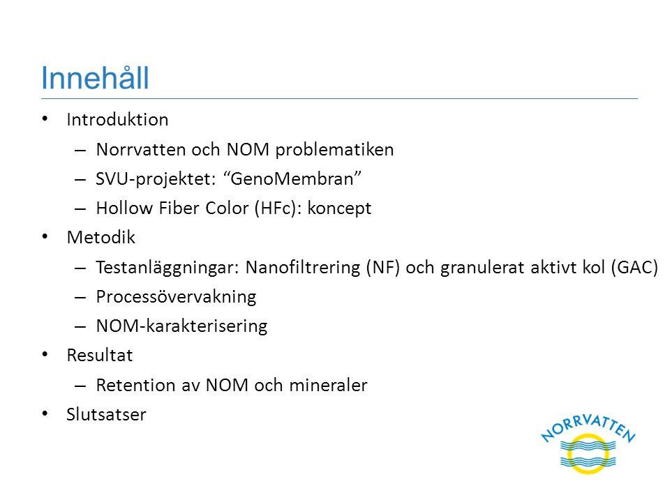 """Innehåll Introduktion – Norrvatten och NOM problematiken – SVU-projektet: """"GenoMembran"""" – Hollow Fiber Color (HFc): koncept Metodik – Testanläggningar"""