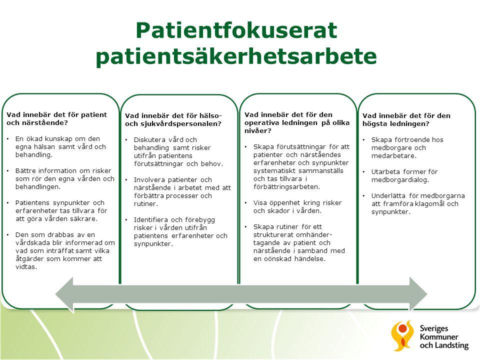 Patientfokuserat patientsäkerhetsarbete Vad innebär det för patient och närstående? En ökad kunskap om den egna hälsan samt vård och behandling. Bättr