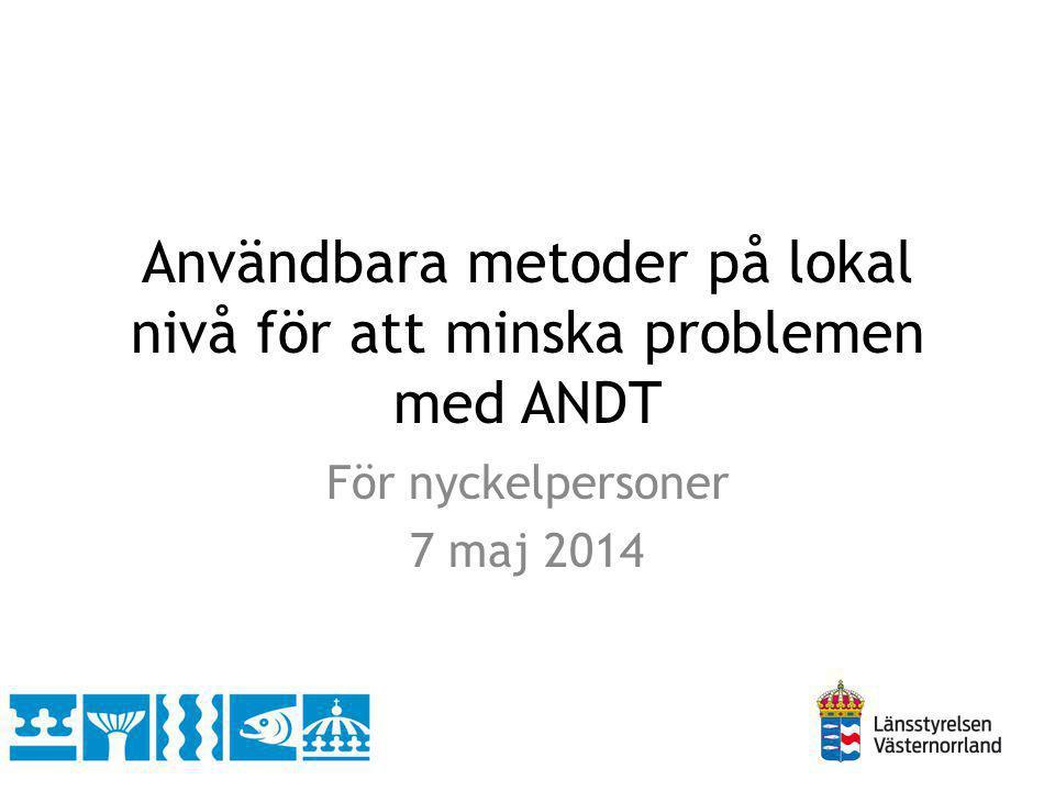 Användbara metoder på lokal nivå för att minska problemen med ANDT För nyckelpersoner 7 maj 2014