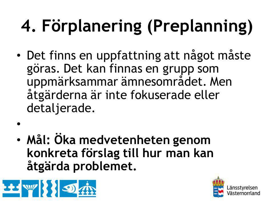 4. Förplanering (Preplanning) Det finns en uppfattning att något måste göras. Det kan finnas en grupp som uppmärksammar ämnesområdet. Men åtgärderna ä