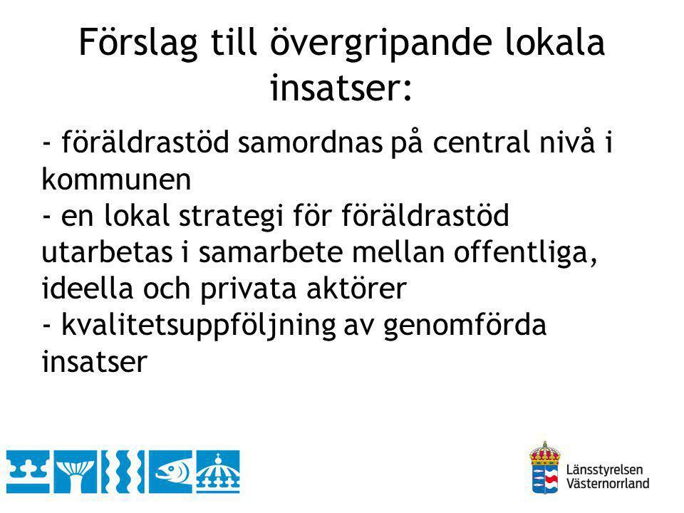 Förslag till övergripande lokala insatser: - föräldrastöd samordnas på central nivå i kommunen - en lokal strategi för föräldrastöd utarbetas i samarb