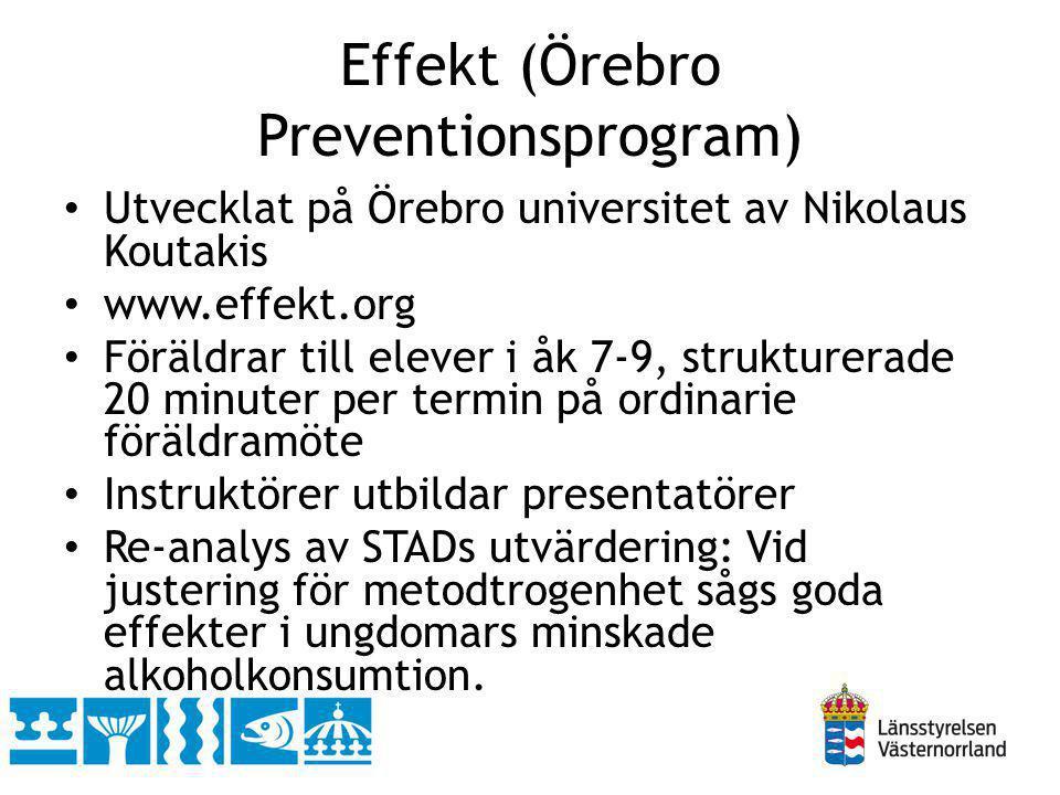 Effekt (Örebro Preventionsprogram) Utvecklat på Örebro universitet av Nikolaus Koutakis www.effekt.org Föräldrar till elever i åk 7-9, strukturerade 2