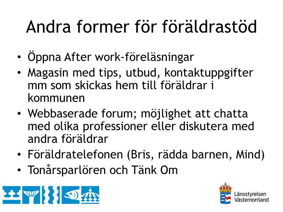 Andra former för föräldrastöd Öppna After work-föreläsningar Magasin med tips, utbud, kontaktuppgifter mm som skickas hem till föräldrar i kommunen We