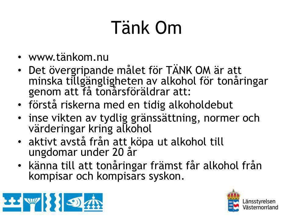 Tänk Om www.tänkom.nu Det övergripande målet för TÄNK OM är att minska tillgängligheten av alkohol för tonåringar genom att få tonårsföräldrar att: fö