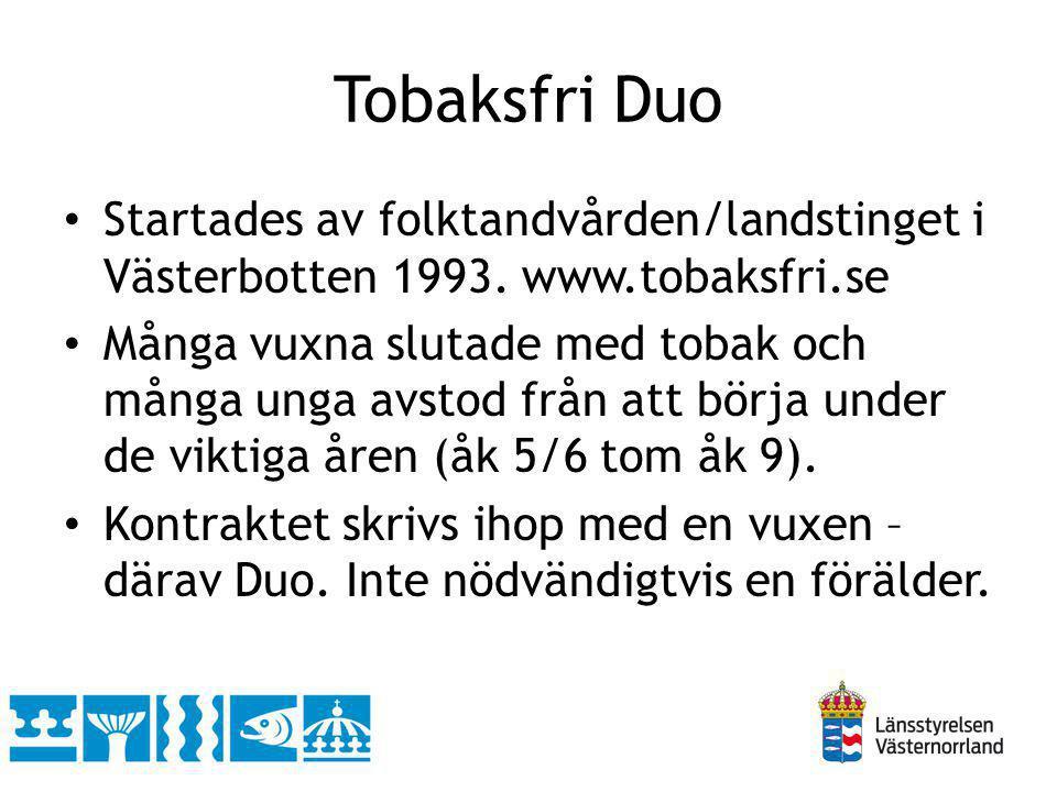 Tobaksfri Duo Startades av folktandvården/landstinget i Västerbotten 1993. www.tobaksfri.se Många vuxna slutade med tobak och många unga avstod från a