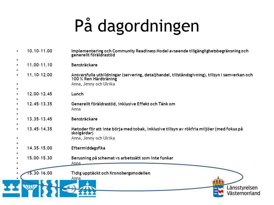 På dagordningen 10.10–11.00Implementering och Community Readiness Model avseende tillgänglighetsbegränsning och generellt föräldrastöd 11.00–11.10Bens