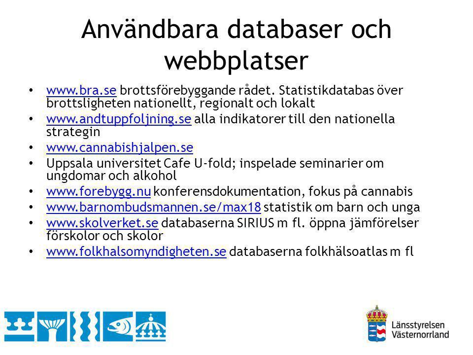 Användbara databaser och webbplatser www.bra.se brottsförebyggande rådet. Statistikdatabas över brottsligheten nationellt, regionalt och lokalt www.br