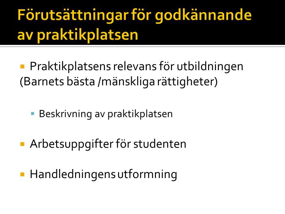  Praktikplatsens relevans för utbildningen (Barnets bästa /mänskliga rättigheter)  Beskrivning av praktikplatsen  Arbetsuppgifter för studenten  Handledningens utformning