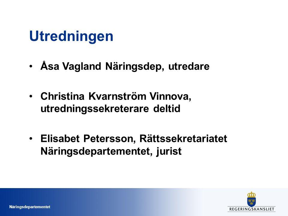 Näringsdepartementet Utredningen Åsa Vagland Näringsdep, utredare Christina Kvarnström Vinnova, utredningssekreterare deltid Elisabet Petersson, Rätts