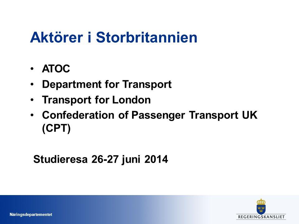 Näringsdepartementet Aktörer i Storbritannien ATOC Department for Transport Transport for London Confederation of Passenger Transport UK (CPT) Studier