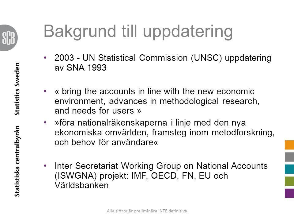 Bakgrund till uppdatering 2003 - UN Statistical Commission (UNSC) uppdatering av SNA 1993 « bring the accounts in line with the new economic environment, advances in methodological research, and needs for users » »föra nationalräkenskaperna i linje med den nya ekonomiska omvärlden, framsteg inom metodforskning, och behov för användare« Inter Secretariat Working Group on National Accounts (ISWGNA) projekt: IMF, OECD, FN, EU och Världsbanken Alla siffror är preliminära INTE definitiva