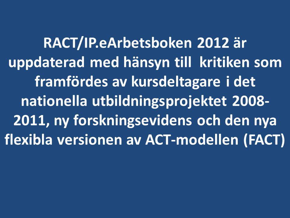 RACT/IP.eArbetsboken 2012 är uppdaterad med hänsyn till kritiken som framfördes av kursdeltagare i det nationella utbildningsprojektet 2008- 2011, ny