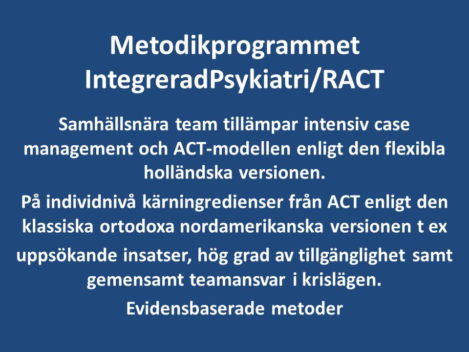 Metodikprogrammet IntegreradPsykiatri/RACT Samhällsnära team tillämpar intensiv case management och ACT-modellen enligt den flexibla holländska versio