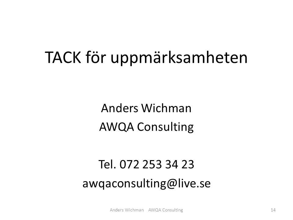 TACK för uppmärksamheten Anders Wichman AWQA Consulting Tel.