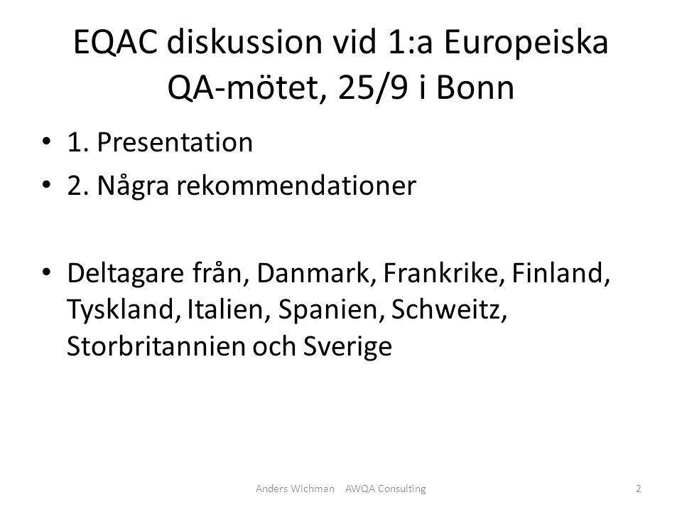 EQAC diskussion vid 1:a Europeiska QA-mötet, 25/9 i Bonn 1.