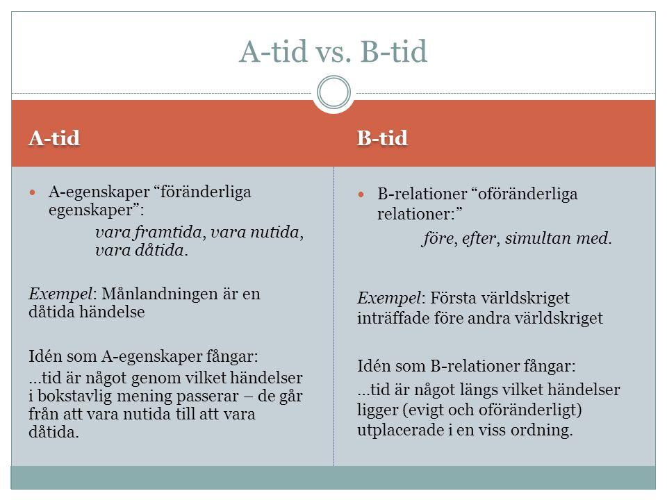 """A-tid B-tid A-egenskaper """"föränderliga egenskaper"""": vara framtida, vara nutida, vara dåtida. Exempel: Månlandningen är en dåtida händelse Idén som A-e"""