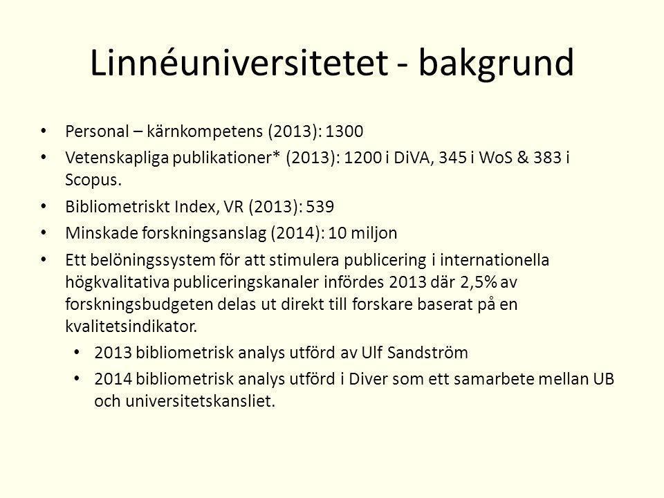 Linnéuniversitetet - bakgrund Personal – kärnkompetens (2013): 1300 Vetenskapliga publikationer* (2013): 1200 i DiVA, 345 i WoS & 383 i Scopus.