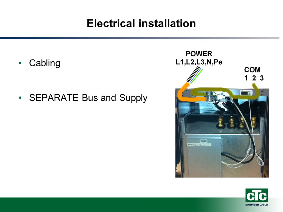 Electrical installation Cabling SEPARATE Bus and Supply