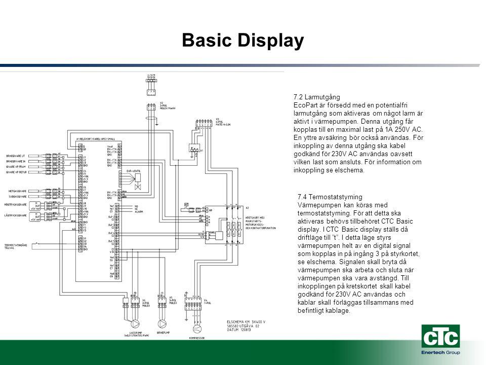 Basic Display 7.2 Larmutgång EcoPart är försedd med en potentialfri larmutgång som aktiveras om något larm är aktivt i värmepumpen.
