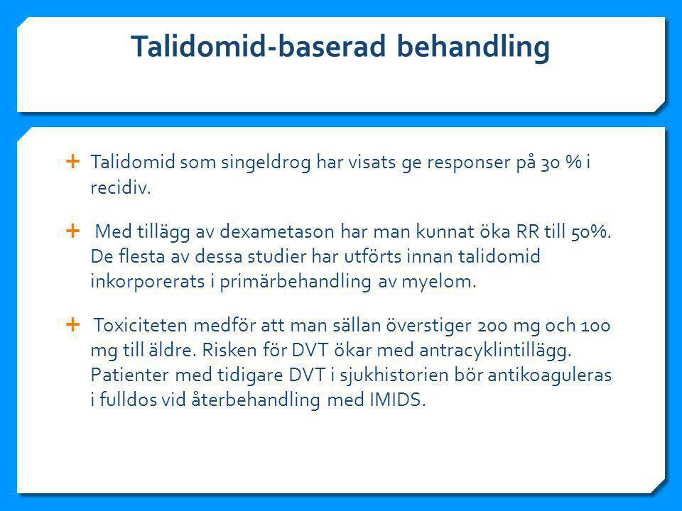 Talidomid-baserad behandling  Talidomid som singeldrog har visats ge responser på 30 % i recidiv.