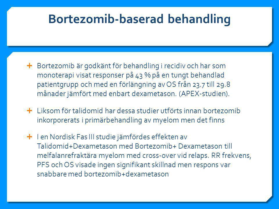 Bortezomib-baserad behandling  Bortezomib är godkänt för behandling i recidiv och har som monoterapi visat responser på 43 % på en tungt behandlad patientgrupp och med en förlängning av OS från 23.7 till 29.8 månader jämfört med enbart dexametason.
