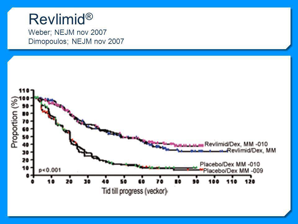 Revlimid ® Weber; NEJM nov 2007 Dimopoulos; NEJM nov 2007