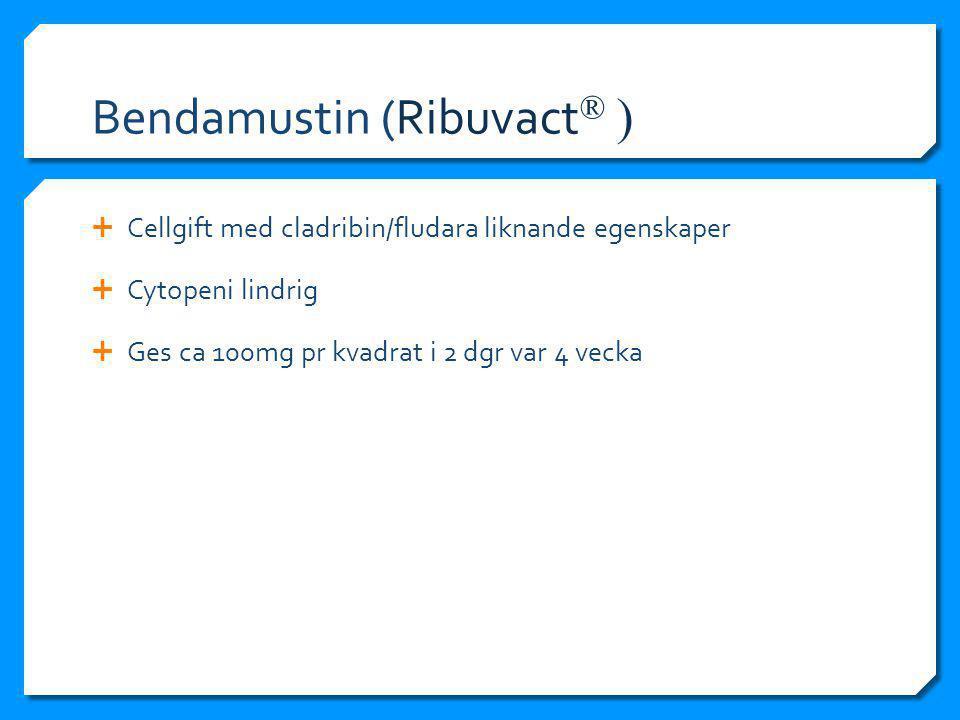 Bendamustin (Ribuvact ® )  Cellgift med cladribin/fludara liknande egenskaper  Cytopeni lindrig  Ges ca 100mg pr kvadrat i 2 dgr var 4 vecka