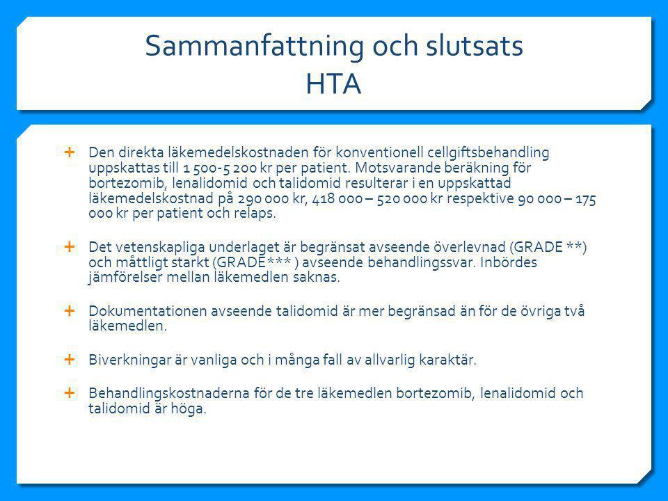 Sammanfattning och slutsats HTA  Den direkta läkemedelskostnaden för konventionell cellgiftsbehandling uppskattas till 1 500-5 200 kr per patient.