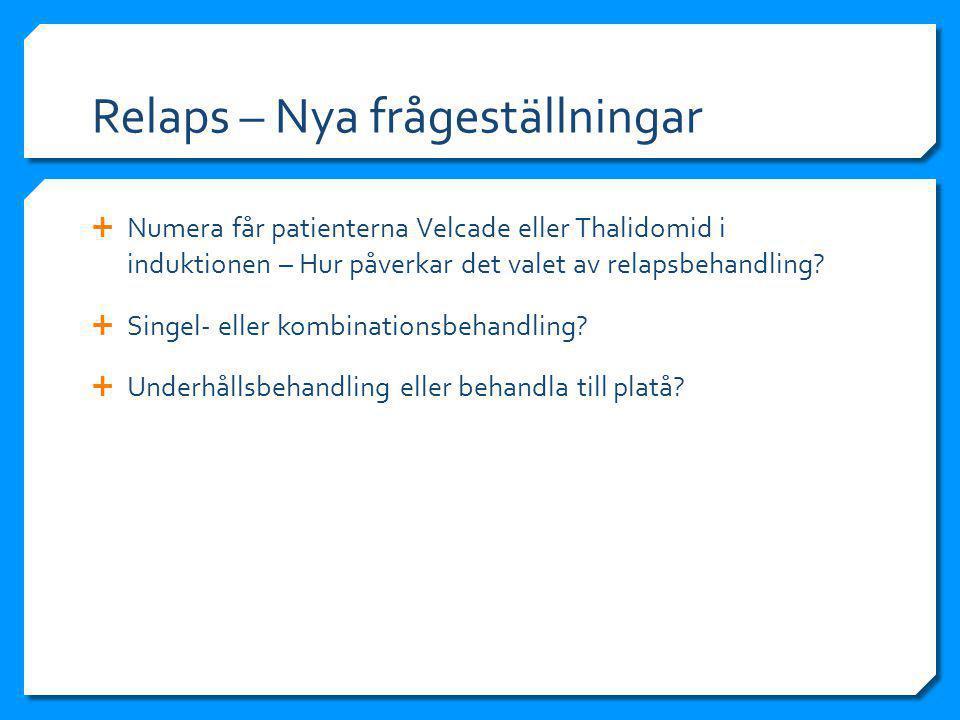 Relaps – Nya frågeställningar  Numera får patienterna Velcade eller Thalidomid i induktionen – Hur påverkar det valet av relapsbehandling.