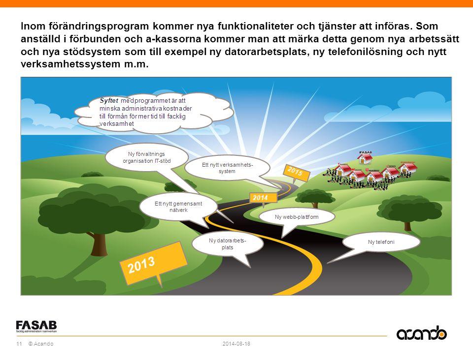 Sv © Acando Inom förändringsprogram kommer nya funktionaliteter och tjänster att införas.
