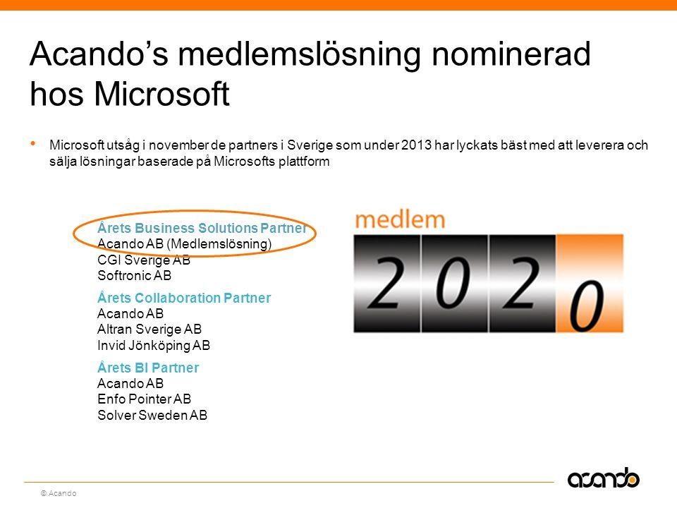 Sv © Acando Acando's medlemslösning nominerad hos Microsoft Microsoft utsåg i november de partners i Sverige som under 2013 har lyckats bäst med att leverera och sälja lösningar baserade på Microsofts plattform Årets Business Solutions Partner Acando AB (Medlemslösning) CGI Sverige AB Softronic AB Årets Collaboration Partner Acando AB Altran Sverige AB Invid Jönköping AB Årets BI Partner Acando AB Enfo Pointer AB Solver Sweden AB