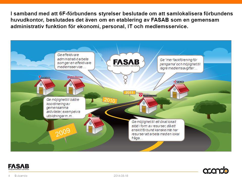 Sv © Acando I samband med att 6F-förbundens styrelser beslutade om att samlokalisera förbundens huvudkontor, beslutades det även om en etablering av FASAB som en gemensam administrativ funktion för ekonomi, personal, IT och medlemsservice.