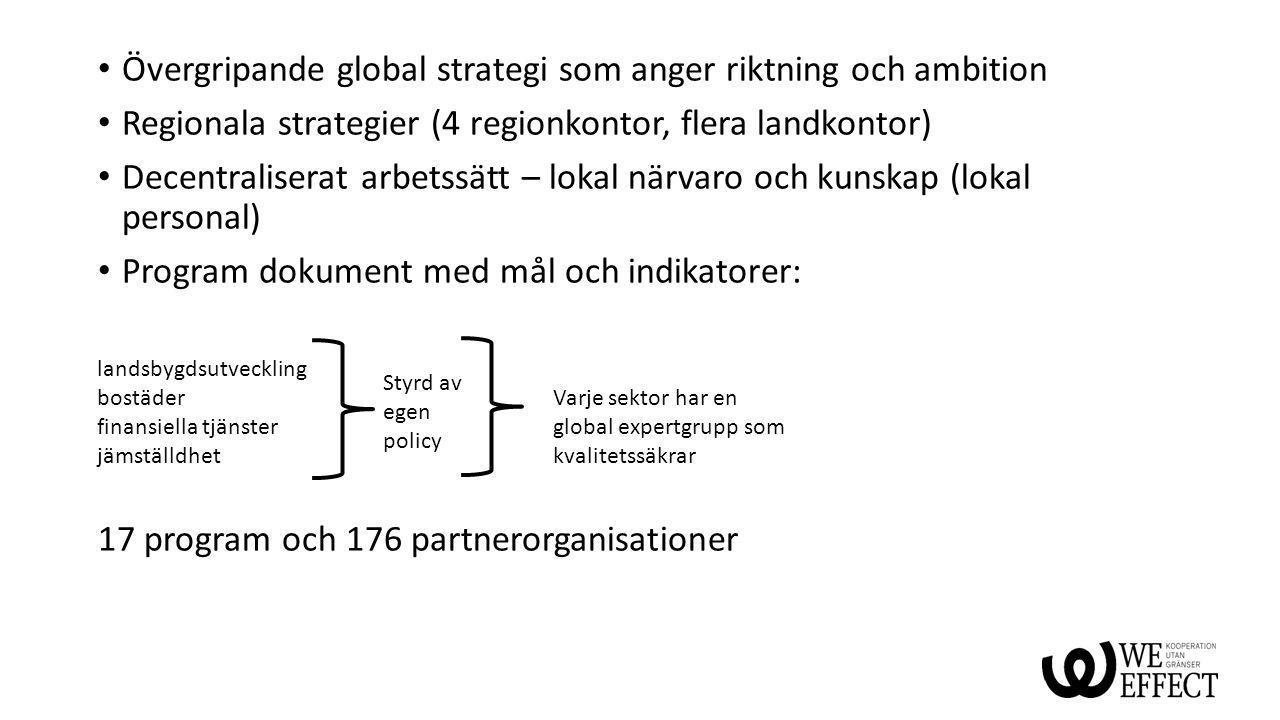 Övergripande global strategi som anger riktning och ambition Regionala strategier (4 regionkontor, flera landkontor) Decentraliserat arbetssätt – loka