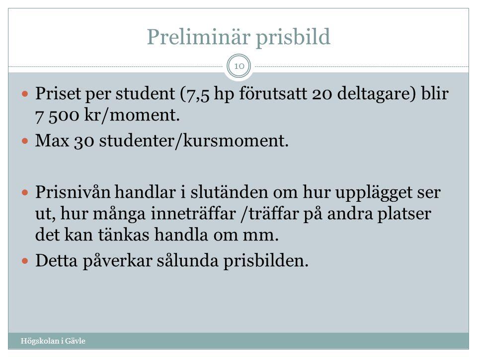 Preliminär prisbild Högskolan i Gävle 10 Priset per student (7,5 hp förutsatt 20 deltagare) blir 7 500 kr/moment.